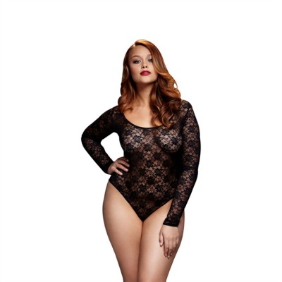 """ BLACK LACY BODYSUIT BACK CUTOUT 1 PC QUEEN SIZE "" Baci"